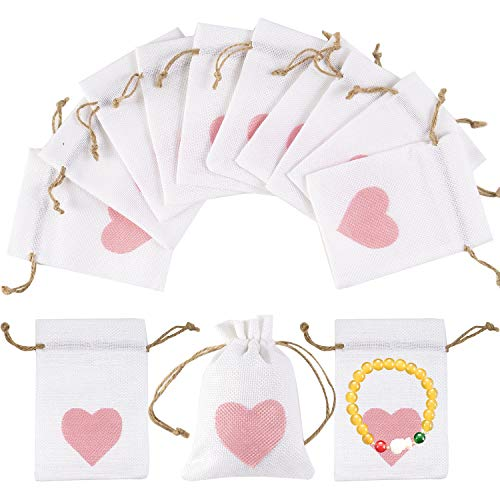 30pcs Burlap Bags with Drawstring Heart Gift Pouches Small Candy Jewelry Storage Package Sack for Wedding Bridal Shower Birthday Party Christmas Valentine's Day Favors DIY Craft, 5.5x3.7 Inch -