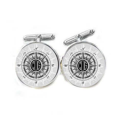 Black and White Compass Personalized Monogram Cufflinks
