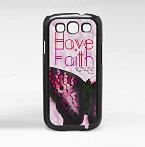 Pink Beautiful Butterfly 'Have Faith' Hard Snap on Phone Case (Galaxy s3 III)