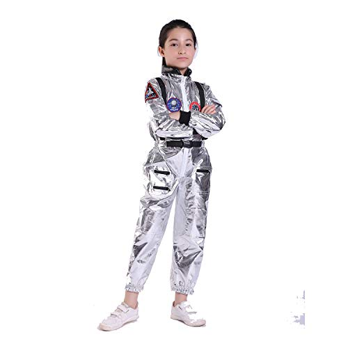 WEEOH Astronaut Costume Spaceman Suit Halloween Costumes - Funny Cosplay Party (Children-(130cm-150cm)) Silvery