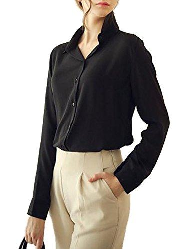 t Manches Longues Chemises Haut Femmes JackenLOVE Blouse Casual Revers Mousseline Chemisiers Noir Tops Fashion AxqdTFf