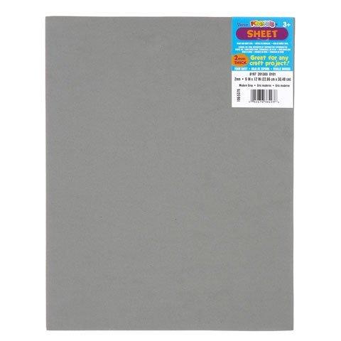 Darice Bulk Buy DIY Foamies Foam Sheet Modern Grey 2mm Thick 9 x 12 inches (10-Pack) - Foamies Foam