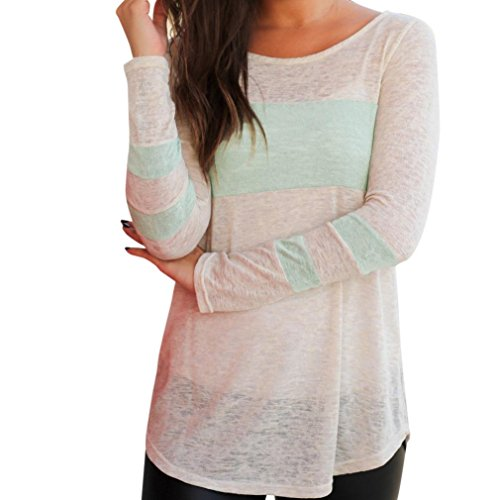 DaySeventh Clearance New Fashion Women's Cotton Tops O V Neck Pullover Long Sleeve Top Blouse (M, Type6 Mint - Out Swimsuits Material What Made Of Is