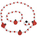 SMITCO Play Jewelry for Toddler Girls - for Little Girls to Play Dress Up - Stretch Ladybug Necklace, Ring and Bracelet Set