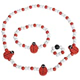 SMITCO Jewelry for Toddler Girls - Elastic Ladybug Necklace Ring and Bracelet for Ages 2-8