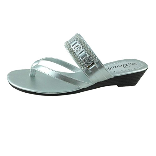 Bonita Womens Wedge Sandals Flip Flops Shoes BABY-104 Silver
