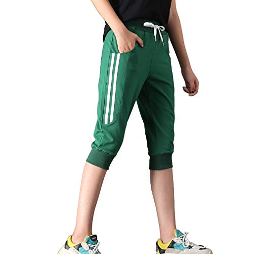 (KDi Women's Shorts Jogger Sweatpants Running Trousers Tracksuit Capri Pants (S, 1# Dark)
