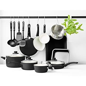 Greenlife Warmies Chef de Essentials 18pc – Batería de cocina antiadherente de cerámica Set, Negro