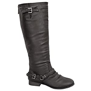 Women's Mid Calf Combat Boots, 9 B(M) US, Black Pu