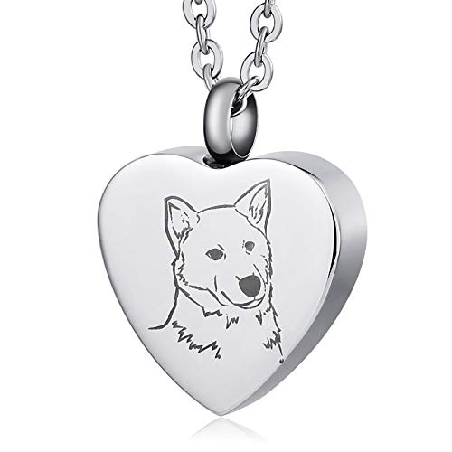 MoAndy Stainless Steel Ashes Pendant Urn Necklace for Men and Women Loving Dog Pattern Silver