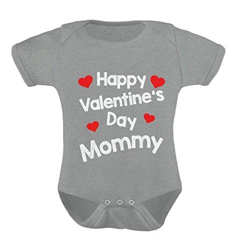TeeStars - Happy Valentine's Day Mommy - Very Cute Hearts Infant Baby Bodysuit 18M Gray