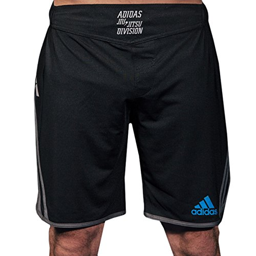 Adidas Grappling Drawstring MMA Shorts - Small - Black/Beluga/Blue (Beluga Short)