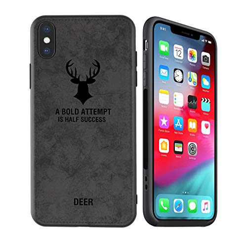 Deer Pattern - kenke iPhone Xs Max case, Ultra-Thin [Nordic Style] Retro Deer Pattern Leather case for Apple iPhone Xs max Cover, Hybrid Protection Silicone Shock-Absorbent Soft case (2018) 6.5 inches-Black