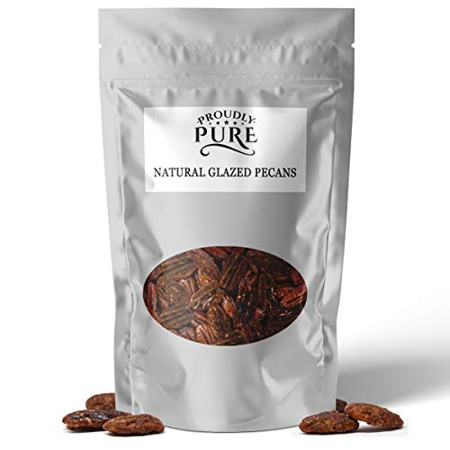 Proudly Pure 100% Natural Gourmet Glazed Pecan Nuts- Certified Kosher, Unpasteurized, No Preservative, Non Gmo, Unsalted On The Go Resealable Gift Bag For Baked Goods, Granola, Trail Mixes, Salads, Et
