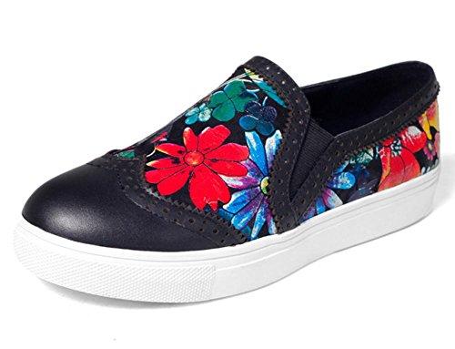 La primera capa de las nuevas mujeres de las mujeres de los zapatos ocasionales florales profundos redondos del talón plano de cuero Black