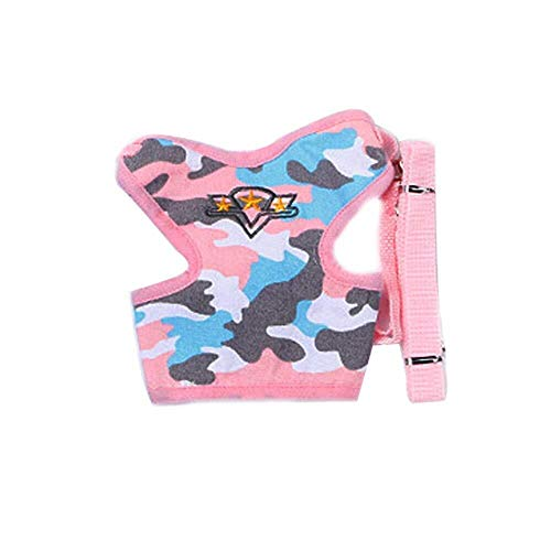 RONGFAFA Pet Clothes Clothing Pet Traction Rope Chest Strap Traction Rope Dog Chain Dog Rope Wind Five-Pointed Star Chest Back Style (Color : Pink, Size : L)