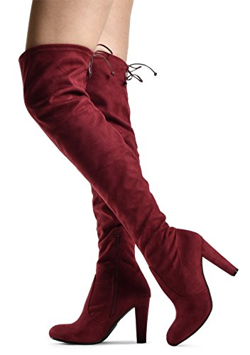 LUSTHAVE Blake Frauen Sexy Overknee Pullon Boot - Kordelzug Stretchy Komfortable Blockabsatz - Seitlicher Reißverschluss Wein