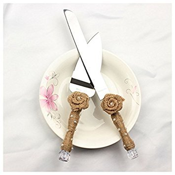 SODIAL(R) 1 set of silver hemp rope + stainless steel rose flower pearl wedding cake knife shovel: 1 cake knife 20.4cm 2.4 cm handle length 11.5cm, a cake shovel 14 5cm handle length 11.5cm