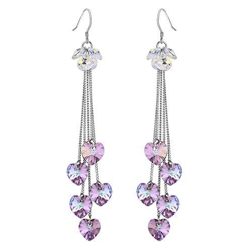 - FANZE Women's Love Heart Long Chain High Polished Dangle Earrings Made with Swarovski Crystal Lavender Purple
