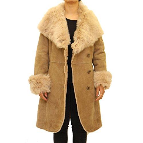 Beige Peau Boutonné Mouton Col A Avec En Femmes Manteau Large To De Leather Z Pour 7n8qgq6wTY