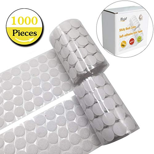 1000pcs adhesive (500 Pair Sets) 0.59in Diameter Sticky Back Coins Hook & Loop Self Adhesive Dots Tapes