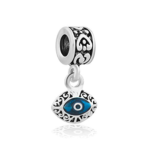 , Two Sided Blue Evil Eye Protection Dangle Charm Jewelry Bead Fits European Compatible Bracelets