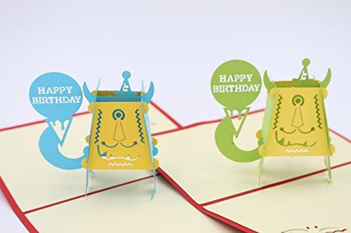 GUchina Little Monster 3D Pop Up Greeting Card Handmade Kirigami & Origami Happy Birthday -pack of 2