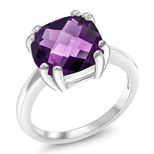 Gem Stone King 3.45 Ct Cushion Checkerboard Purple Amethyst 925 Sterling Silver Ring (Size ()
