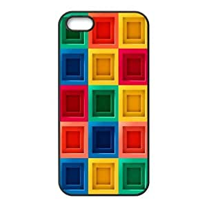 IPhone 5,5S Cases Colorful Blocks, Abstract Color Cases Jumphigh, {Black}
