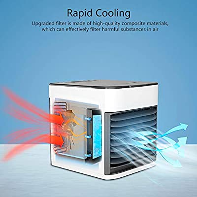 2019 Latest Personal Air Cooler Fan, Portable Air Conditioner, Humidifier, Purifier 3 in 1 Evaporative Cooler, Mini AC USB Cooling Desktop Fan for Bedroom, Travel, Office