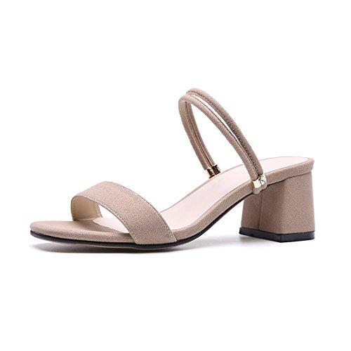 AJUNR Moda/elegante/Transpirable/Sandalias Sandals salvaje ranurado zapatillas con con punta abierta albaricoque 7cm high heels 35 39