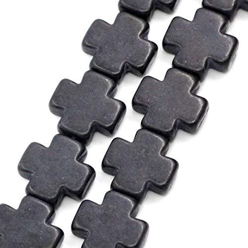 Black Strand Cross - 15mm Howlite Cross Beads Jet Black Maltese Cross Full Strand how0054 Jewelry Making Supplies Set Crafts DIY Kit