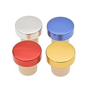AMAZZANG-5 Pcs Wine Bottle Stopper Metal Cap High Polymer Plug Supplies Reusable Sealed (GOLD)