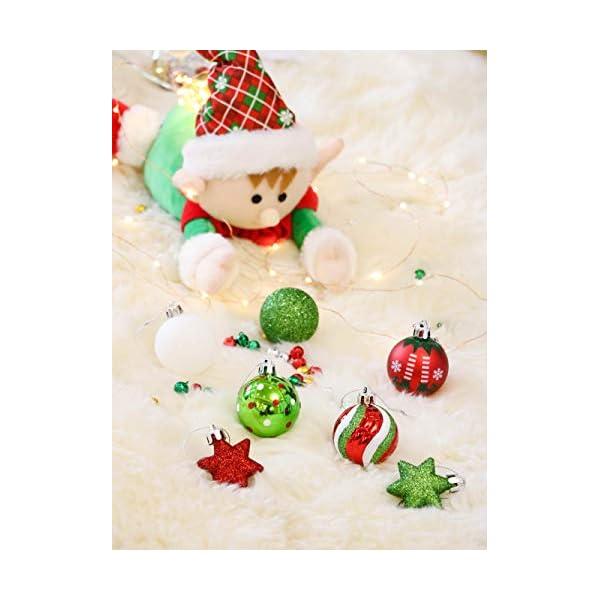 Victor's Workshop Addobbi Natalizi 35 Pezzi 5cm Palle di Natale per Albero, Delizioso Elfo Rosso Verde e Bianco Infrangibile Palla di Natale Ornamenti Decorazione 7 spesavip