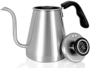 Pour Over Coffee Kettle and Tea Kettle with Built-in Thermometer 1.0L/34oz - Ovalware RJ3 Stainless Steel Drip Kettle with Precision Gooseneck Spout for Home Brewing, Camping and Traveling