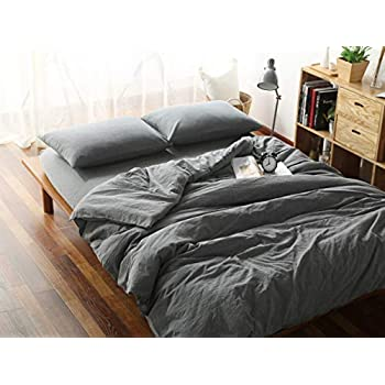 F.Y.Dreams 100% Washed Cotton Duvet Cover for Weighted Blanket 60x80 inches with 8 Ties,Zipper on Long Side/Grey/Just Duvet Cover