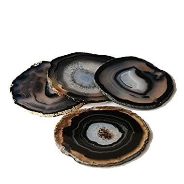 Airblasters Black Color 3-3.5 Inch Natural Sliced Agate Coaster Set of 4