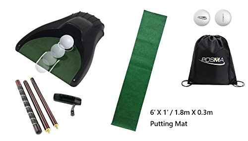 POSMA PG150D Golf Putter Training Putting Trainer Bundle Gift Set with Kickback Putt Cup, 6ft x 1ft Putt Mat, Detachable 4-section putter, 2pcs Tour Ball and Cinch Sack Carry Bag by POSMA (Image #7)