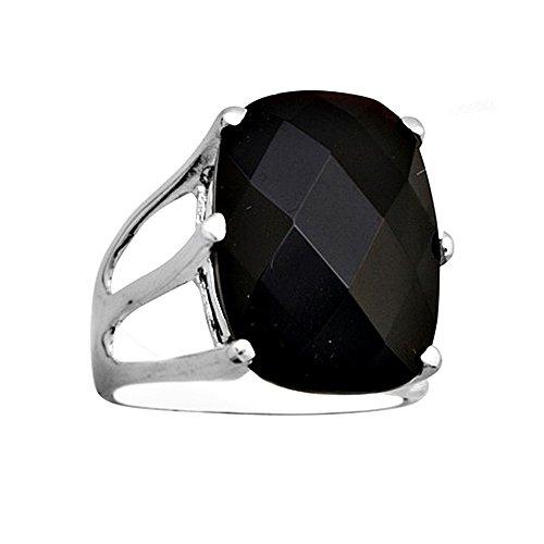 Bague 18k Briolet pierre noire carrée de 18x13mm [AA6844] or blanc
