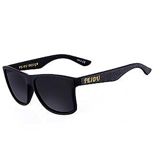 FEIDU Classic Brand Polarized Sunglasses Men Elastic Plastics Frame Sun glasses For Men Outdoor Eyewear FD0105 (grey, black)