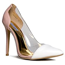RICCI-BY-01 Clear Transparent Pointed Toe Two Tone High Heel Pump