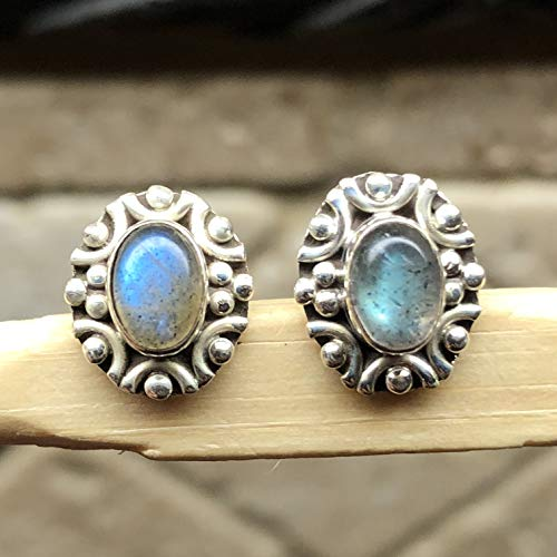 Natural Blue Iridescence Labradorite 925 Sterling Silver Stud Earrings 10mm Long