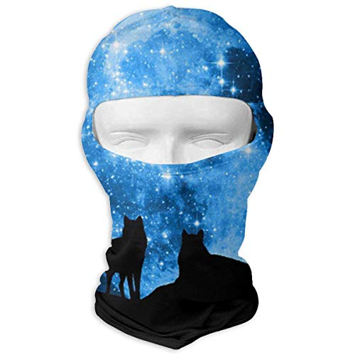 Cool Wolf Halloween Balaclava Face Mask Hood for Women Men Extra Warmth Hiking Motorcycling Neck -