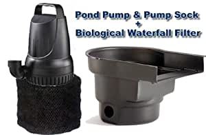 2100 gph submersible pond pump and waterfall for Pond filter pump combo