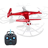 Mini Butterball JJRC H97 Rc Quadcopter Drones with Camera and Double Battery Replacement Battery 2.4GHz 4Channel 6-Axis Drone One Key Return & Headless Mode & Led Lights Red