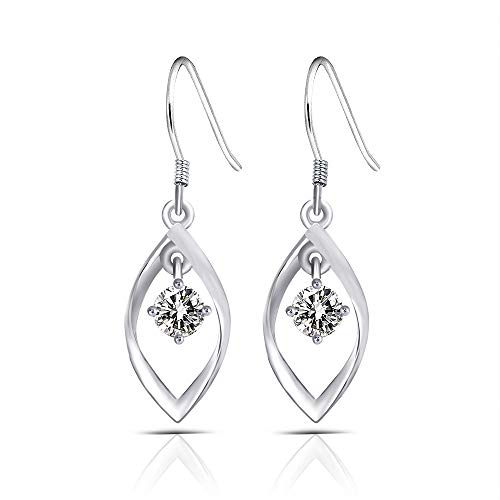 (Platinum Plated Silver 1.2ct Center 5.5mm Grey Tinted Heart Arrows Cut Moissanite Dangle Earrings for Women 11mm Width 36mm Height)