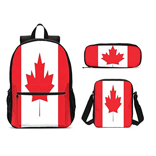DuJiea Canada Flag Kids Backpack Set 3 Piece Student Back To School Book Bag with Shouder Bag Pencil Case for Boys Girls 1-6th Grade