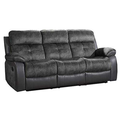 "Homelegance Manual Double Reclining Sofa, 82""W, Gray Two-Tone"