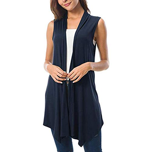 - Women's Lightweight Sleeveless Solid/Tie-Dye Open Front Drape Vest Cardigan Plus Size,Londony Open Front Cardigan Navy