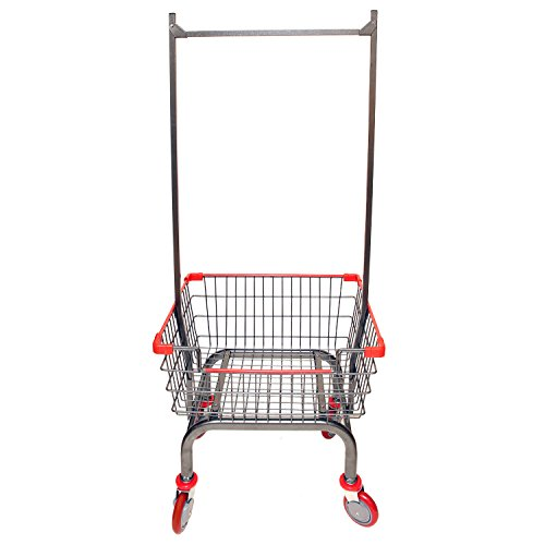 Coin Laundry Cart, CART&SUPPLY [Heavy Duty][Rolling Cart] Laundry Cart with Double Pole Rack [Charcoal Gray]